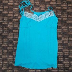 Tops - Blue lace trim cami
